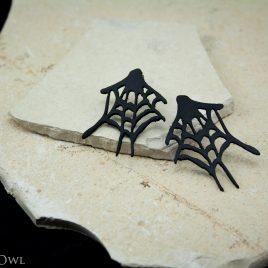 Spinnennetz Ohrring Ohrstecker schwarz
