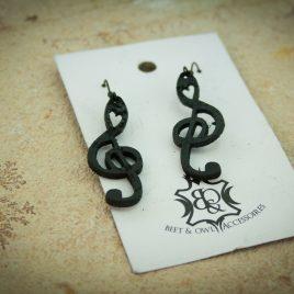 Notenschlüsselohrring Ohrhaken Hängeohrring schwarz Musik