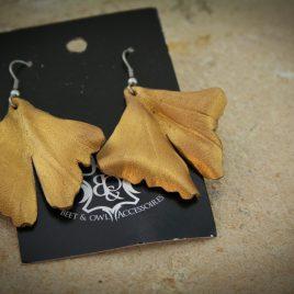 Gingkoohrring Ohrhaken Gingko Blatt goldfarben