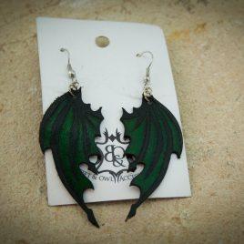 Flügelohrring Ohrhaken Ohrring Drachenflügel grün- schwarz