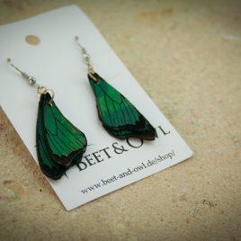 Schmetterlingsflügel Ohrringe Ohrhaken Hängeohrringe grün