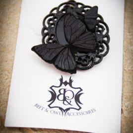 Brosche schwarzer Schmetterling black Butterfly Anstecknadel