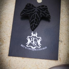 Brosche Efeublatt Blatt Pflanze Anstecknadel schwarz