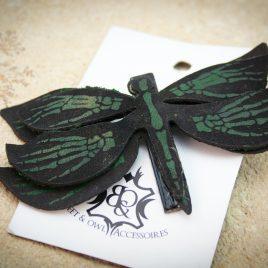 Haarspange Libelle Skeletthände Insekt Falter Haarclip grün schwarz