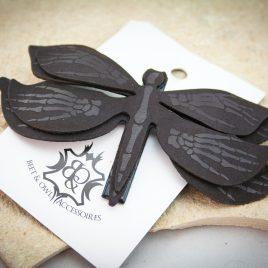 Haarspange Libelle Skeletthände Insekt Falter Haarclip schwarz