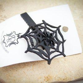 Haarspange Haarclip Spinnennetz Spiderweb schwarz