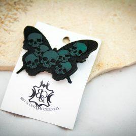 Haarspange Schmetterling Schmetterhead Totenköpfe Haarschmuck links grün