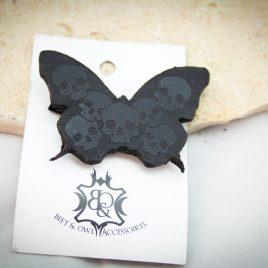 Haarspange Schmetterling Schmetterhead Totenköpfe Haarschmuck  rechts schwarz