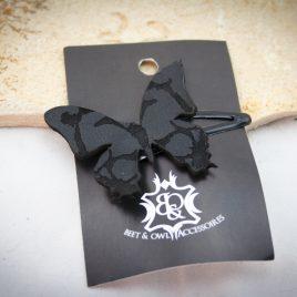 Haarspange schwarzer Schmetterling Falter Variante 1 links
