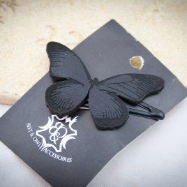 Haarspange schwarzer Schmetterling Falter Variante 2 links