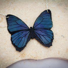 Halskette Kette Collier Schmetterling Falter blau
