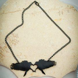 Halskette Kette Rabenliebe Raben Herz schwarz Rabenkuss
