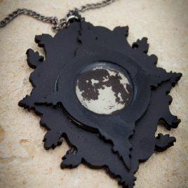 Halskette Kette Amulett Mondschein schwarz graphitfarben