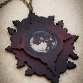 Halskette Kette Amulett Mondschein bordeaux messingfarben