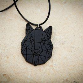 Halskette Kette Lederband Wolfskopf Wolf Polygon schwarz