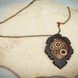 Halskette Kette Amulett Zahnräder Steampunkbraun messingfarben