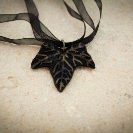 Halskette Kette Collier Efeublatt Satinband schwarz golden