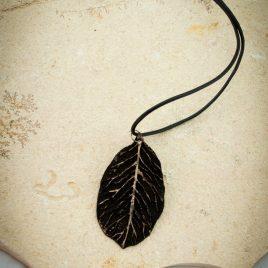Halskette Kette Collier Laubblatt Lederband schwarz golden