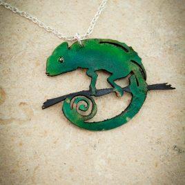 Halskette Kette Chamäleon Reptil Echse grün
