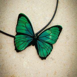 Halskette Kette Collier Schmetterling grün Baumwollband