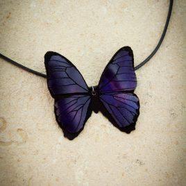 Halskette Kette Collier Schmetterling lila Baumwollband