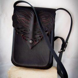 Umhängetasche Tragetasche Damenhandtasche Rippenherz schwarz bordeaux