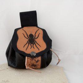 Gürteltasche Tabaksbeutel Säckchen Bag Leder schwarz braun Spinne