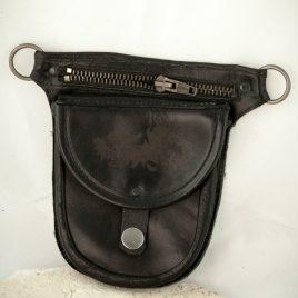 Gürteltasche flach Flatbag schwarz Leder 2 Fächer