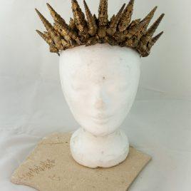 Kopfputz Headdress Meerjungfrau Meereskönigin Muscheln Krone gold