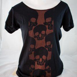 Damenshirt Ladys Shirt Baumwolle Schädelmotiv rostbraun/schwarz