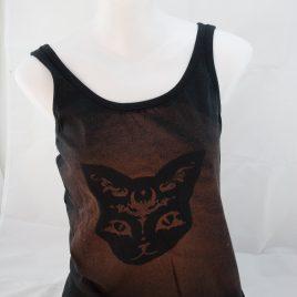 Damenshirt Tank Top ärmellos Baumwolle Katzenkopf mystische Katze rostbraun/schwarz