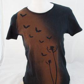 Damenshirt Kurzarm Baumwolle Fledermaus Pusteblume rostbraun/schwarz