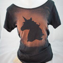 Damenshirt Kurzarm Baumwolle Einhorn black Unicorn orangerot/ anthrazit