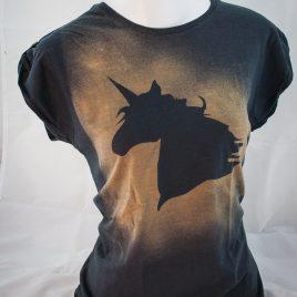 Damenshirt Kurzarm Baumwolle Einhorn black Unicorn senf/ anthrazit mit Raffärmeln