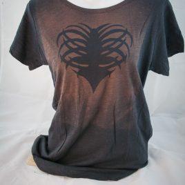 Damenshirt Kurzarm Baumwolle Rippenherz rostbraun/anthrazit