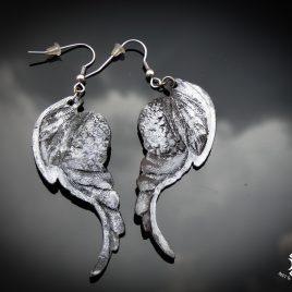 Flügelohrring Ohrhaken Engelsflügel silber- schwarz