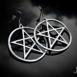 Pentagrammohrring Ohrhaken Ohrring Magie Hexe Symbolik silber schwarz