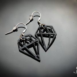 Diamantenohrring Ohrhaken Hängeohrring schwarz Diamant