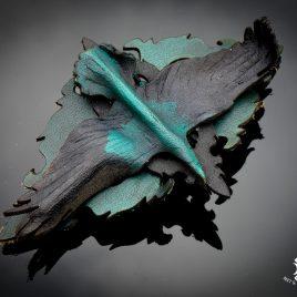 französische Haarspange Rabe auf Ornament grün schwarz