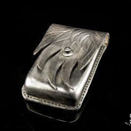 Gürteltasche Handytasche handvernäht schwarz Flügel Leder