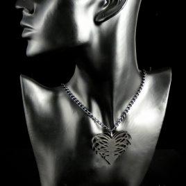 Halskette Kette Rippenherz Rippe Rips Heart Herz Heartbreak schwarz Echtleder R.I.P.- Heart