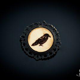 Brosche Rabe Krähe Vogel Anstecknadel Seitenprofil Crow