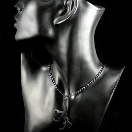 Halskette Kette Rabenfuß Krähenfuß Hexe Amulett Magier schwarz Echtleder