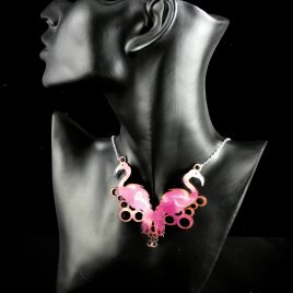 Halskette Kette Collier Flamingo Flamingos pink Echtleder Aquarelllook