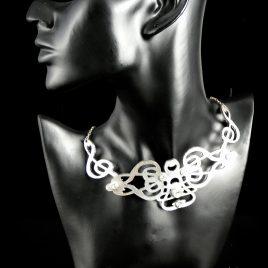 Halskette Kette Notenschlüssel Ornament Collier 3 Varianten Echtleder Musiker