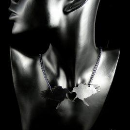 Halskette Kette Rabenliebe Raben Herz schwarz Rabenkuss Ravenkiss Ravenlove Crow Echtleder