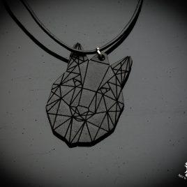 Halskette Kette Lederband Wolfskopf Wolf Polygon Wolves Wolvehound schwarz Echtleder