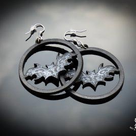 Ohrringe Fledermaus Fledermaus-Creole Ornament schwarz silber Circle