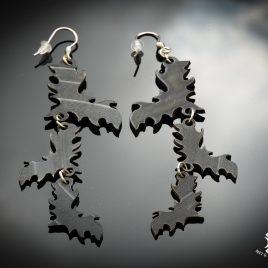 Ohrringe Fledermaus Fledermaus-Trio Ornament Flughund schwarz Schallplatte