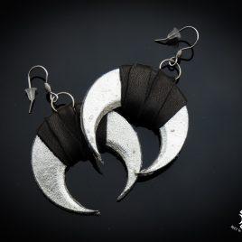 Ohrringe Ohrhaken Mond Mondsichel Moon silber schwarz